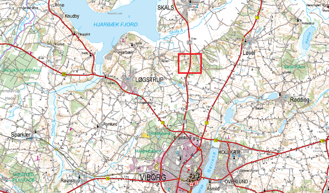 Kort over fæld selv juletræer i Løgstrup ved Viborg